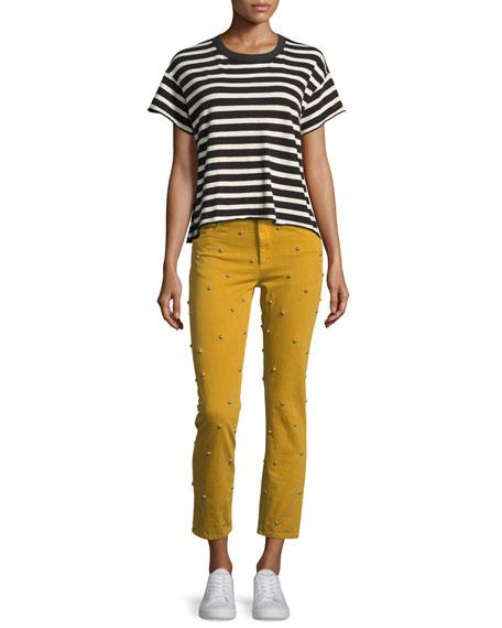 Fliffa High-Rise Studded Straight Jeans
