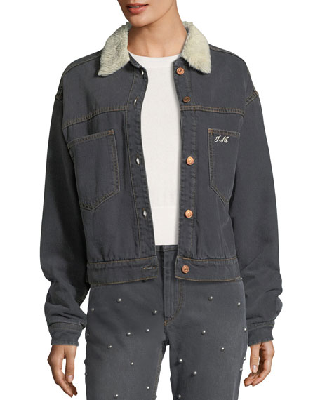 Etoile Isabel Marant Cassy Button-Front Long-Sleeve Denim Jacket