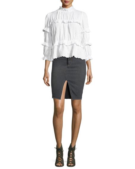 Chadow High-Waist Pencil Denim Skirt