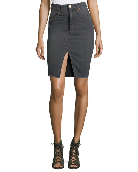 Etoile Isabel Marant Chadow High-Waist Pencil Denim Skirt