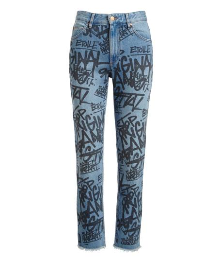 Clayton Graffiti High-Rise Straight Jeans, Blue