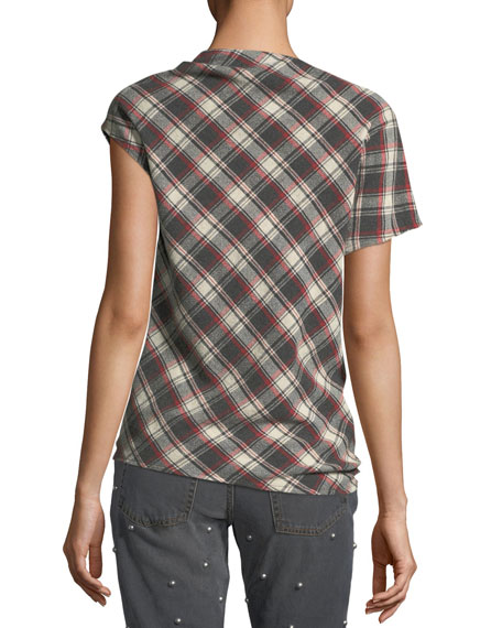 High-Neck Tie-Hem Plaid Wool-Blend Top