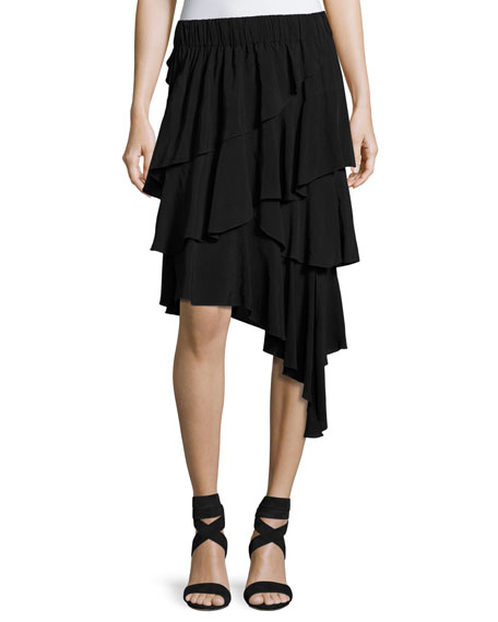 Etoile Isabel Marant Weez Asymmetric Layered Skirt, Black