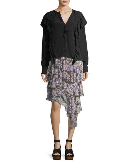 Jeezon Floral-Knit Cotton Skirt
