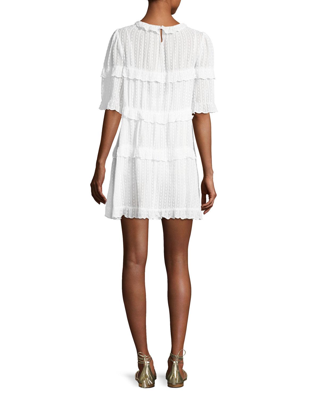 Yin Tiered Ruffled Mini Dress White