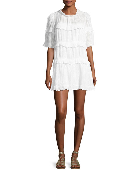 Yin Tiered Ruffled Mini Dress, White