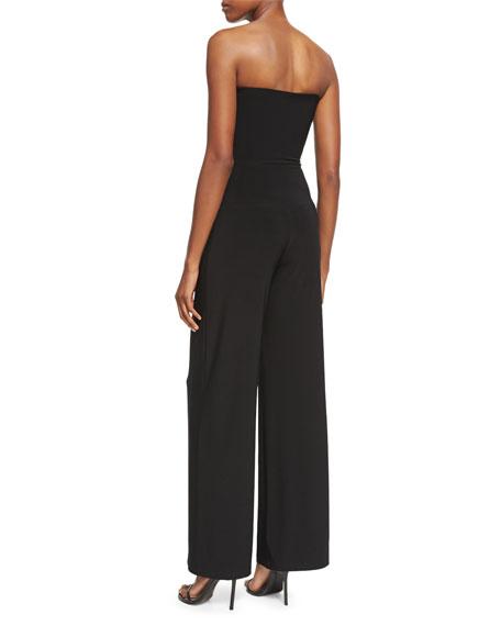 Strapless Wide-Leg Jumpsuit, Black