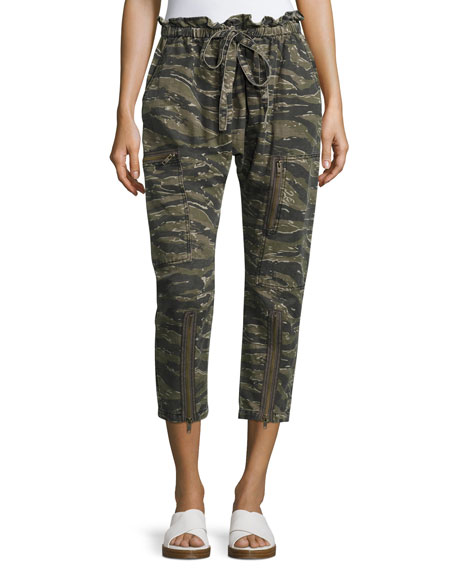 Current/Elliott The Aviation Zip Camo Pants, Green Pattern