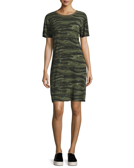 Current/Elliott The Beatnik Camo T-Shirt Dress, Green Pattern