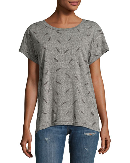 Current/Elliott The Crew Neck Heathered Tee, Gray