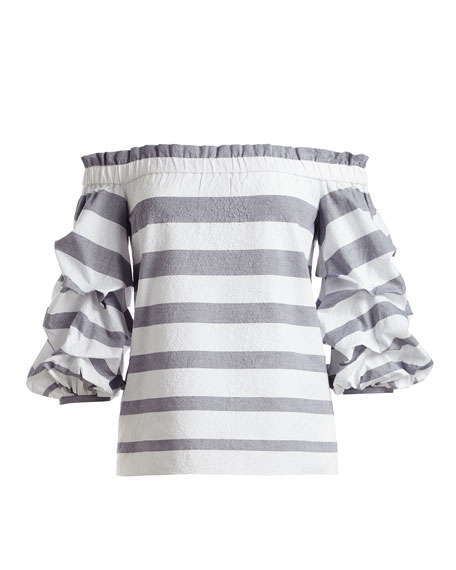 Juneau Wide-Stripe Off-the-Shoulder Top, Blue/White