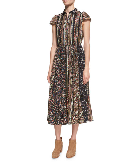 Alice + Olivia Bale Lace Insert Pleated Midi
