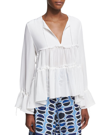 Alexis Vida Split Neck Peasant Blouse, White and