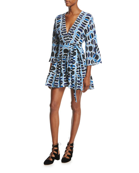 Alexis Julienne Printed Mini Dress, Blue Pattern