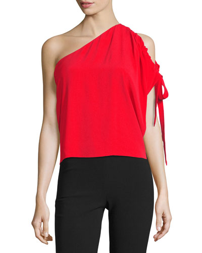 Nali One-Shoulder Crepe Top