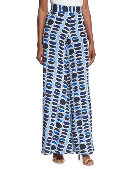 Alexis Auden High-Waist Wide-Leg Pants, Blue Pattern