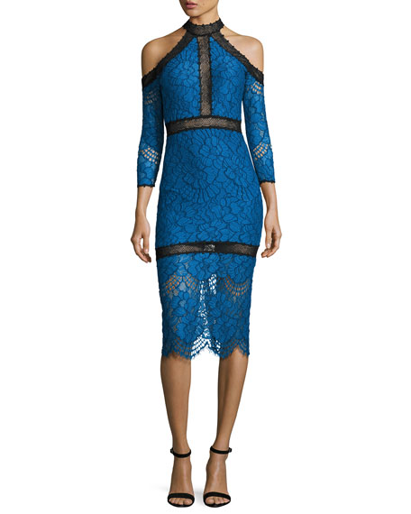 Alexis Marlowe Cold-Shoulder Lace Midi Dress, Blue