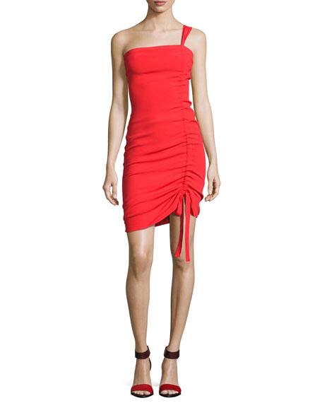 Staz Crepe One-Shoulder Fitted Cocktail Dress, Red