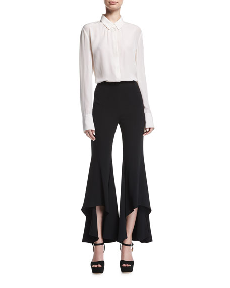 Jonah High-Waist High-Low Hem Crepe Pants