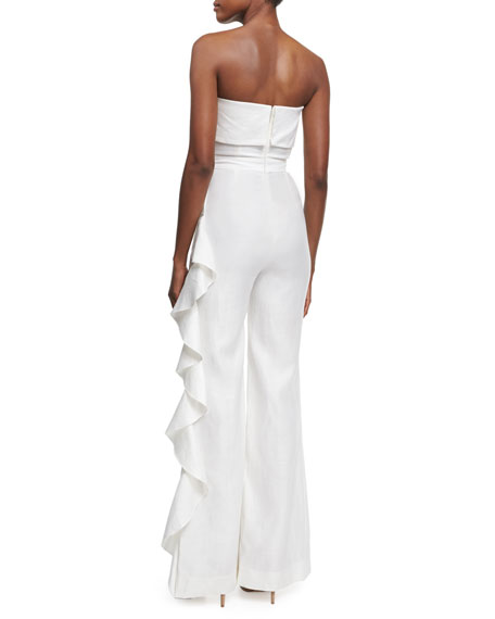 Jara Strapless Overlay Jumpsuit, White