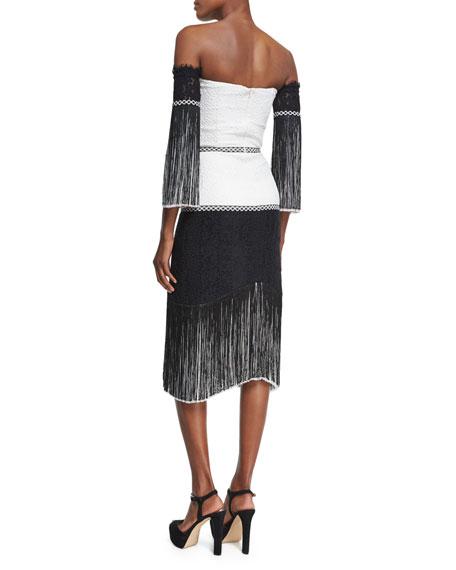 Antoinette Embroidered Fringed Midi Dress, Black/White