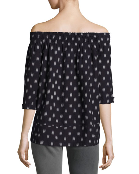 The Smock Dotted Ikat Tee, Blue