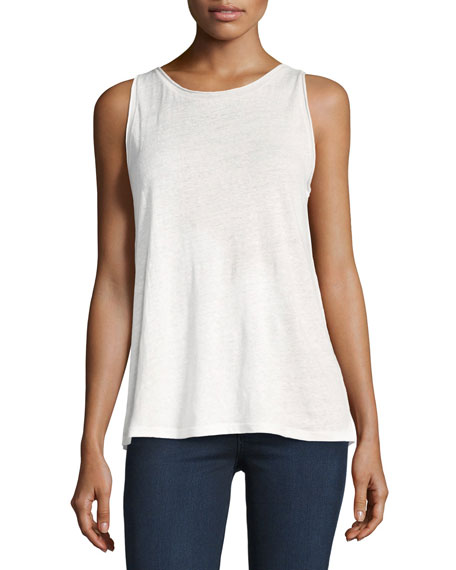 Theory Roll-Stitch Airy Linen Tank Top, White