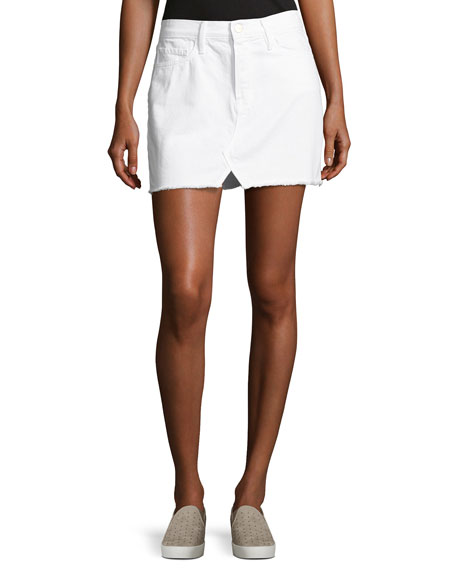 Le Mini Split Front Skirt, White