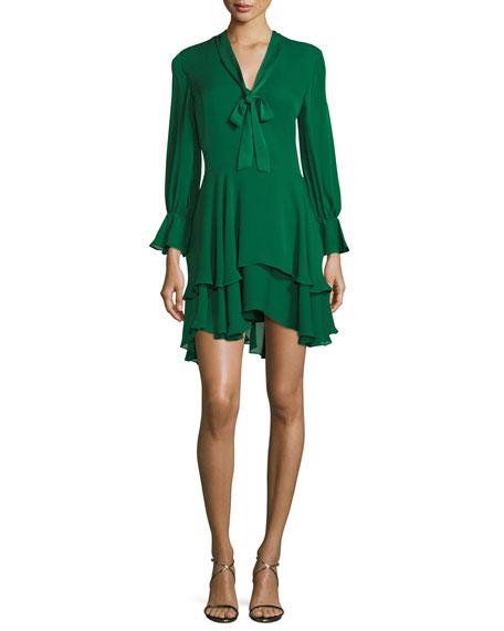 Alice + Olivia Moore Layered Silk Tunic Dress,