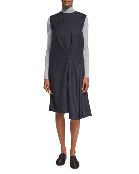 Acne Studios Danya Pinstripe Wool Midi Dress, Blue