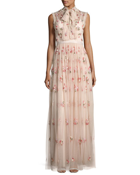 Needle & Thread Ditsy Floral Bow-Tie Tulle Gown,