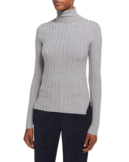 Acne Studios Corina Ribbed Merino Wool Turtleneck, Silver