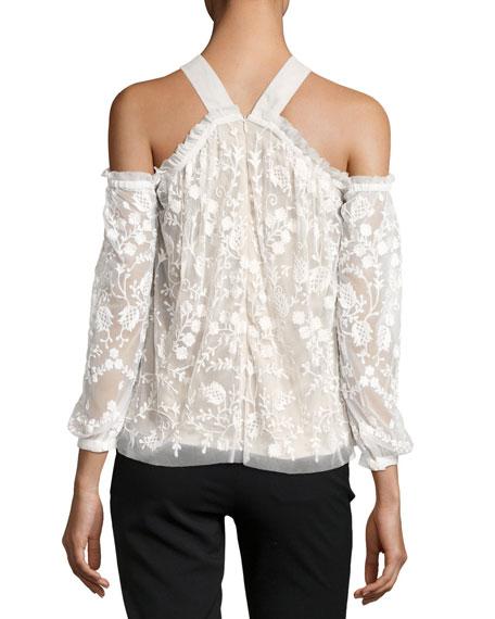 Primrose Cold-Shoulder Floral Tulle Top, White