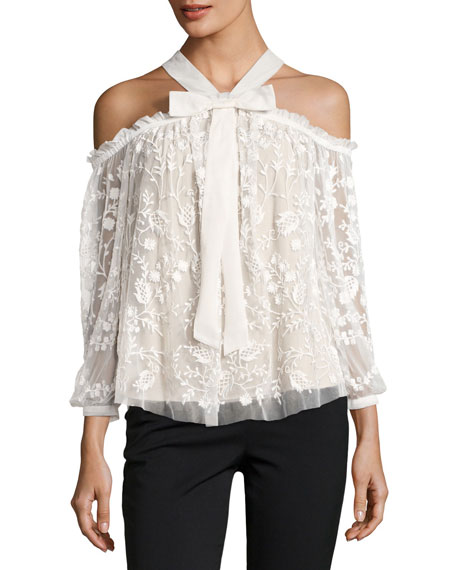Needle & Thread Primrose Cold-Shoulder Floral Tulle Top,