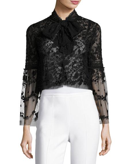 Needle & Thread Primrose Tie-Front Tulle Jacket, Black