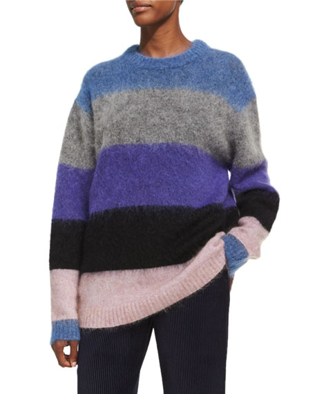 Acne Studios Albah Mohair Wide-Striped Pullover, Multicolor