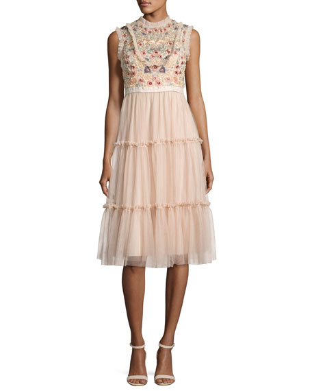 Needle & Thread Sundaze Tiered Tulle Midi Dress,