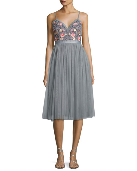 Whisper Embellished Georgette Midi Dress, Gray