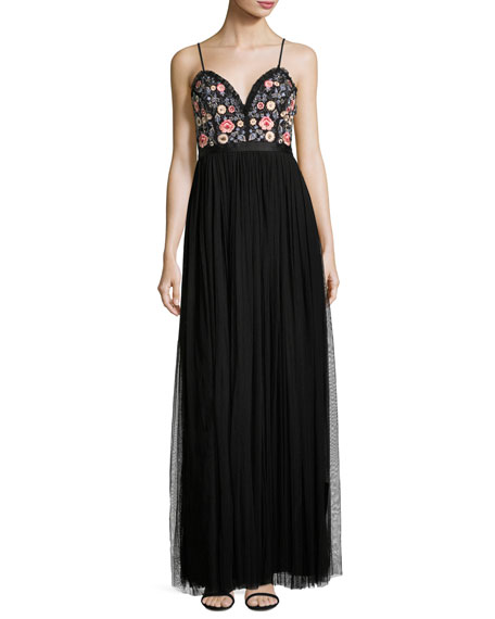 Needle & Thread Whisper Embellished Georgette Maxi Dress,