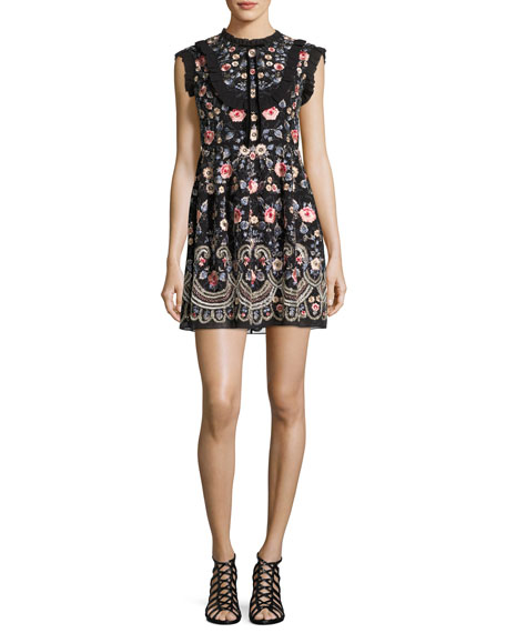 Needle & Thread Whisper Prom Embroidered Mini Dress,