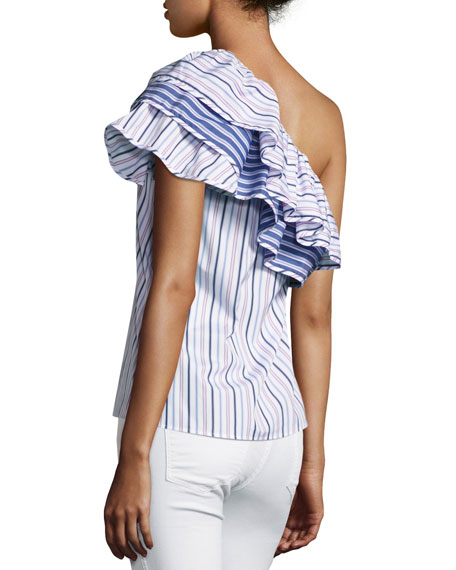 Mary Asymmetric Striped Cotton Top, Blue Pink Multi