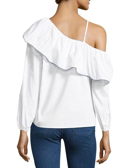 Kammi One-Shoulder Cotton Blouse, White