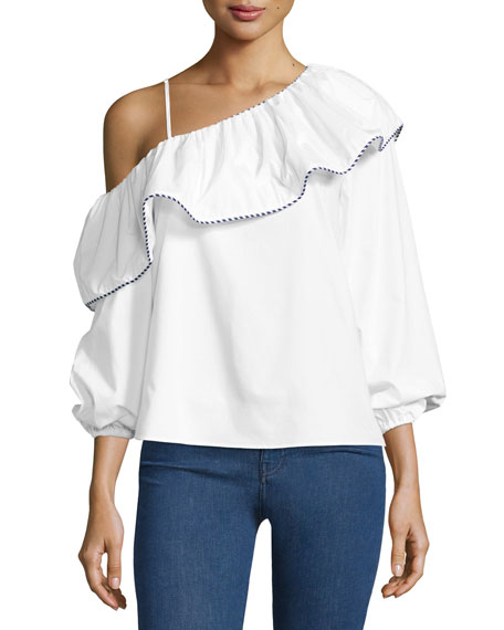 Parker Kammi One-Shoulder Cotton Blouse, White