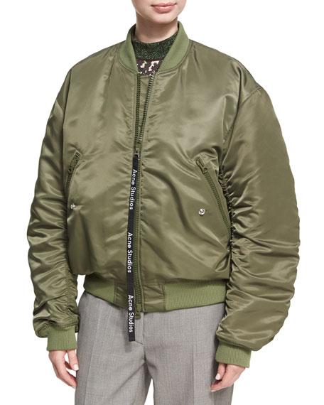 Acne Studios Clea Ruched Nylon Bomber Jacket, Olive