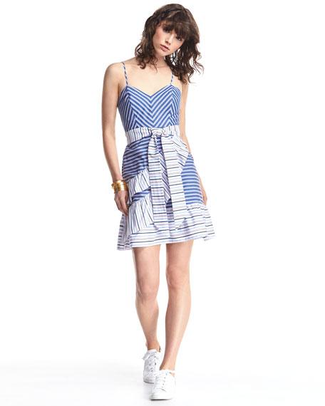 Brooklyn Striped Layered Ruffled Dress, Multi