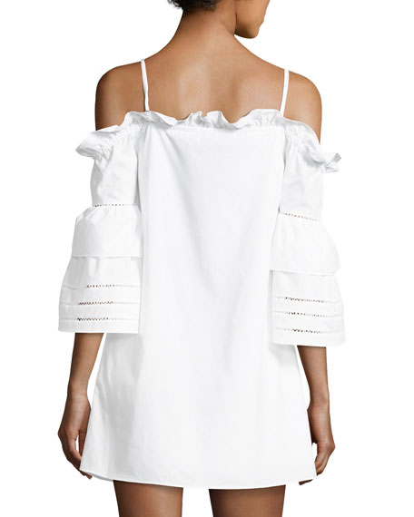 Keegan Cold-Shoulder Mini Dress, White