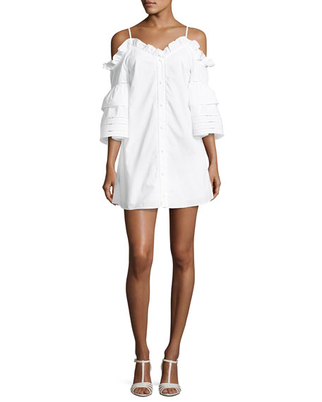 Parker Keegan Cold-Shoulder Mini Dress, White