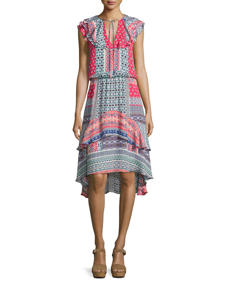 Sistine Tiered Ruffled Silk Dress