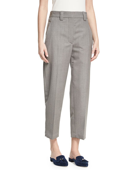 Acne Studios Trea Cropped Flat-Front Trousers, Light Gray