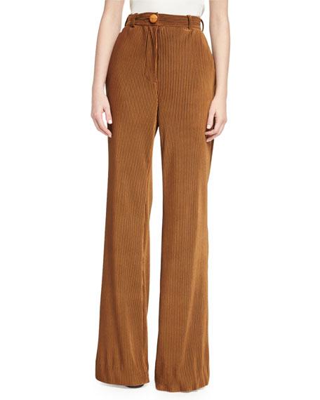 Acne Studios Tessel Pinstripe Corduroy High-Waist Flare Pants,